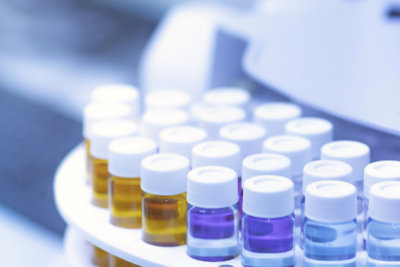 glass bottles in laboratory for test
